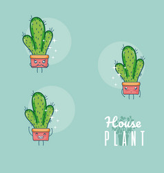 Set of cute houseplants cartoon vector