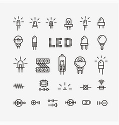 set of electronic components related vector image