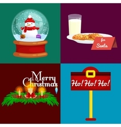 set of greeting cards Merry Christmas and a Happy vector image