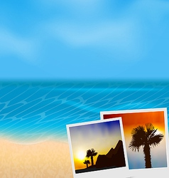 Set vacation beautiful beach photographies vector