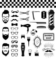 Set vintage barber shop items vector
