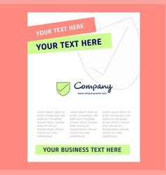 Sheild title page design for company profile vector