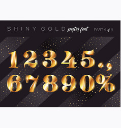 Shiny gold alphabet realistic metallic typeface vector