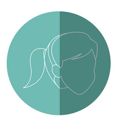 Silhouette face woman head ponytail vector