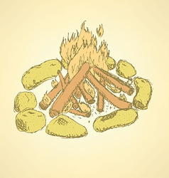 Sketch camp fire in vintage style vector image