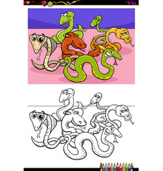 snakes animal characters group color book vector image