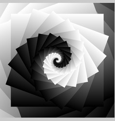 Spiral of rotating squares abstract fractal art vector
