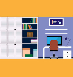 Stylish workplace with bright accents vector
