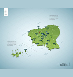 stylized map ecuador isometric 3d green map vector image