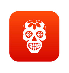 sugar skull flowers on the skull icon digital red vector image