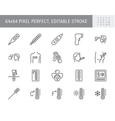 Thermometer line icons vector