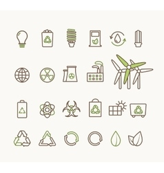 thin line ecological icons set icons vector image