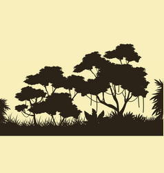 Tree scenery on the forest silhouettes vector