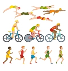 Triathlon athletes design stylized symbolizing vector image