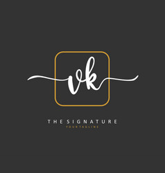 V k vk initial letter handwriting and signature vector