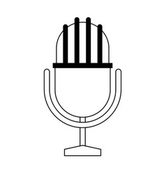 vintage microphone symbol in black and white vector image