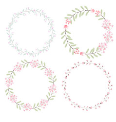 Watercolor pink flowers wreath for wedding or vector