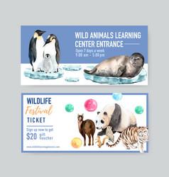 Winter animal voucher design with seal penguin vector