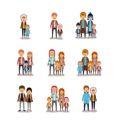 Winter people colorful background with set of vector