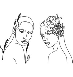 woman head with flowers one line drawing vector image