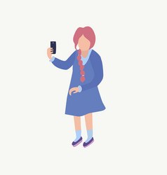 A girl makes selfie cute young girl vector