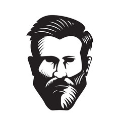 bearded man head isolated on white background vector image vector image