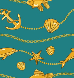gold nautical pattern vector image vector image