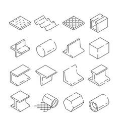 Isometric symbols of metallurgy pictures of iron vector