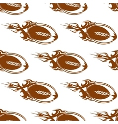 Rugby balls with fire flames pattern vector image vector image