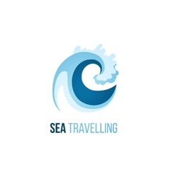 Sea trevelling logo template with wave vector image vector image