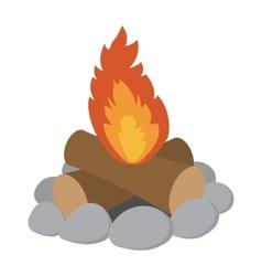 Campfire cartoon icon vector image