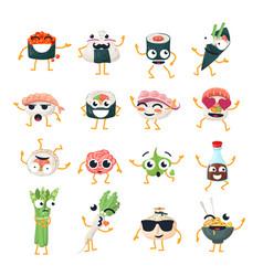 Funny sushi and wok - isolated cartoon vector