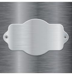 Metal shield plate on brushed steel background vector image