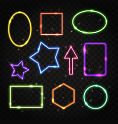Set of colorful neon frames with space for text vector