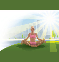 Woman practices yoga outdoors vector image
