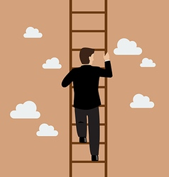 Businessman climbing the ladder vector image vector image