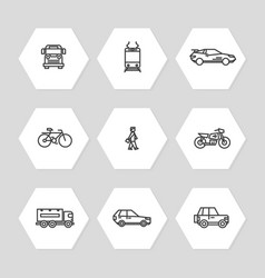 city transportation line icons set - cars train vector image