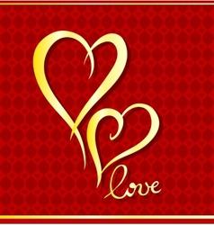 Golden hearts vector image
