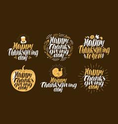 happy thanksgiving label set holiday logo vector image vector image