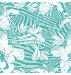 Monochrome seamless vintage flower pattern vector image vector image
