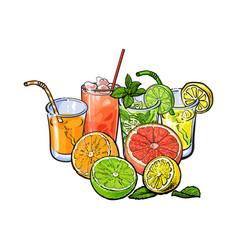 Orange grapefruit lime lemon juice and fruit vector