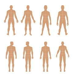 Full length front back human silhouette vector image vector image