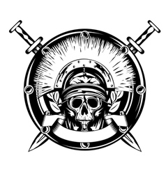 skull in helmet and shield and cross vector image vector image