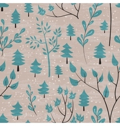 Winter forest seamless pattern vector image vector image