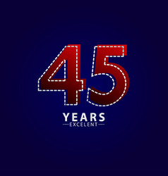 45 years excellent anniversary celebration red vector