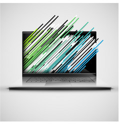 A computer with abstract and colorful lanes vector