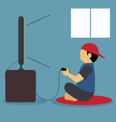 a kid playing video games vector image