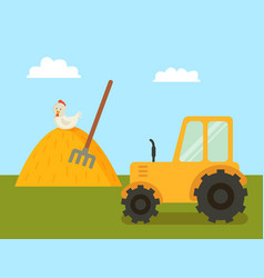 abstract farm with tractor and stack of hay poster vector image