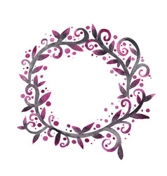 abstract mythic ivy wreath watercolor vector image