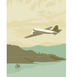 airplane over bay poster vector image